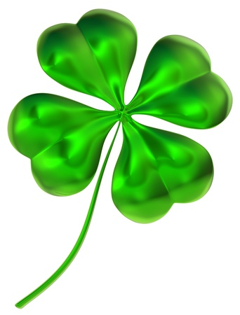 glossy four-leaf clover as international traditional symbol of good luck and fortune photo
