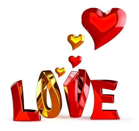 metalic 3D word LOVE with hearts on a white background Stock Photo - 14441087