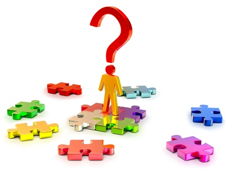 person and color puzzles as a symbol of searching a right solution Stock Photo - 14601176