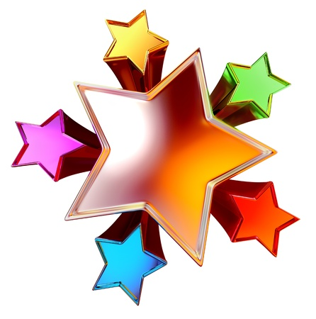 top view of a colorful shining stars in the motion Stock Photo
