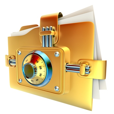 lockbox: folder with golden combination lock stores important documents
