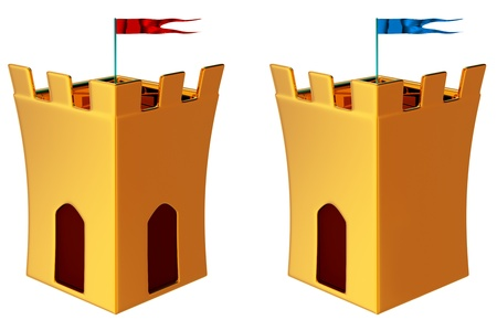 two towers with flags as a symbol of medieval history photo