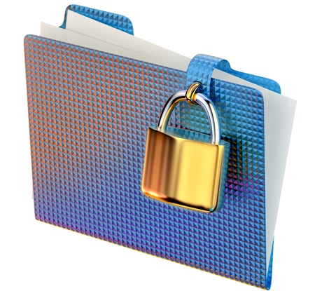 insurmountable: blue folder with golden hinged lock stores important documents