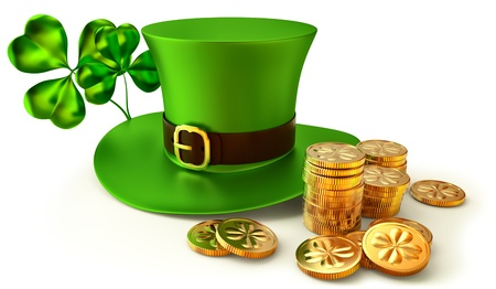 patrick plant: green hat, shamrocks and set of gold coins as a symbol of wealth