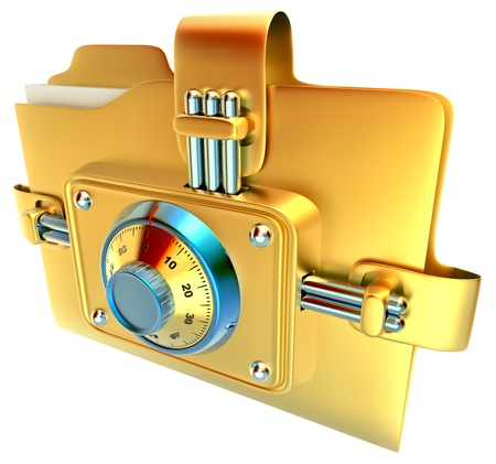 folder with golden combination lock stores confidential documents photo