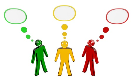 indefinite: three persons have different points of view Stock Photo
