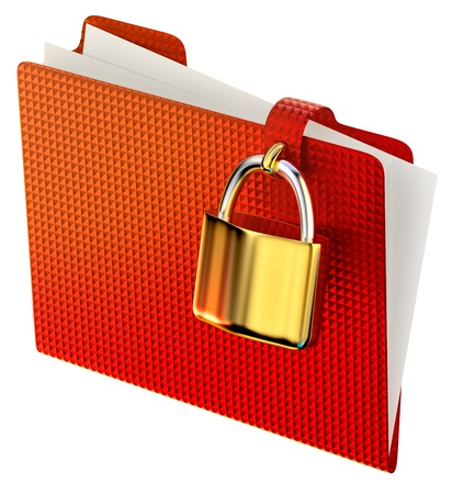 red folder with golden hinged lock stores confidential information photo