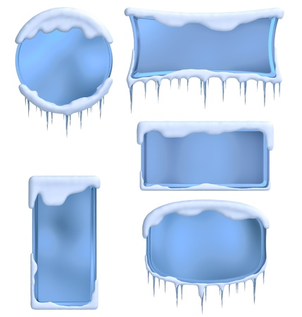 set of frames decorated with icicles and clouds as a symbol of winter holidays Stock Photo