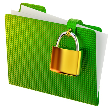 gren folder with golden hinged lock stores ecological documents Stock Photo - 14945525