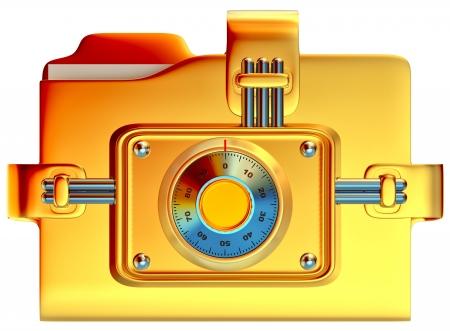 lockbox: folder with golden combination lock stores confidential information
