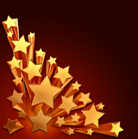 moving golden stars with zoom on brown background Stock Photo - 14988499