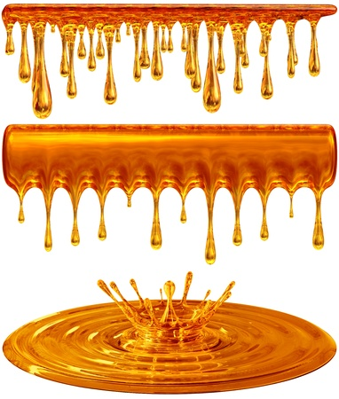 syrup: set of dripping and splash golden honey or caramel