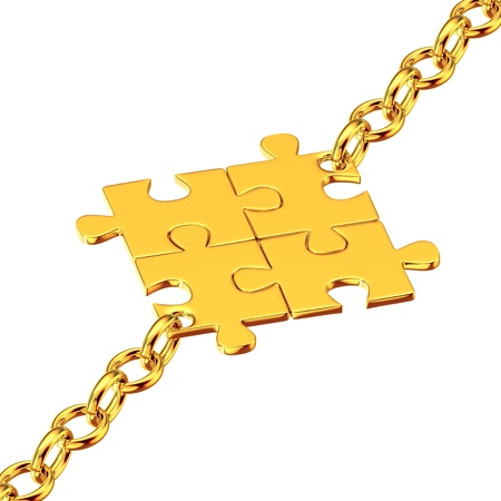 Shiny gold chains with the collected puzzles Stock Photo - 14988497