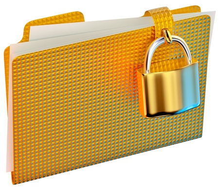insurmountable: yellow folder with golden hinged lock stores important documents
