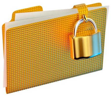 lockbox: yellow folder with golden hinged lock stores important documents