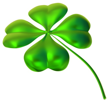 lucky clover: glossy four-leaf clover as international traditional symbol of good luck and fortune