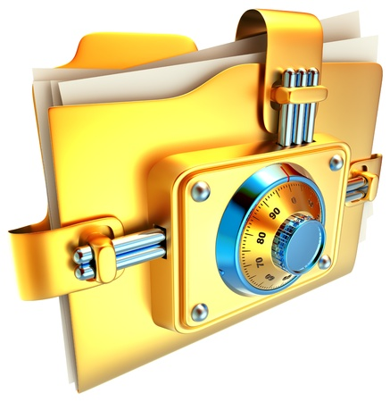 private data: folder with golden combination lock stores important information Stock Photo