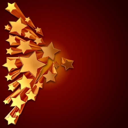 moving golden stars with zoom on brown background Stock Photo - 15506930