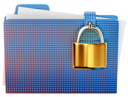 hinged: blue folder with golden hinged lock stores important information Stock Photo
