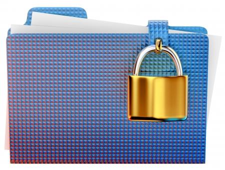 lockbox: blue folder with golden hinged lock stores important information Stock Photo