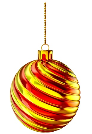 christmas sphere: Christmas-tree ball with gold and red spiral ornament on white background