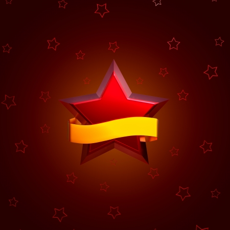 big and small red stars on brown background Stock Photo - 15330500