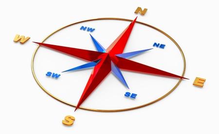 topografia: Rosa de los vientos símbolo o brújula para la navegación en el fondo blanco