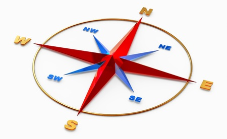 Wind rose symbol or compass for navigation on white background