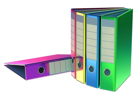 red, yellow, blue, green and magenta folders stores important documents on abstract background Stock Photo - 15441152