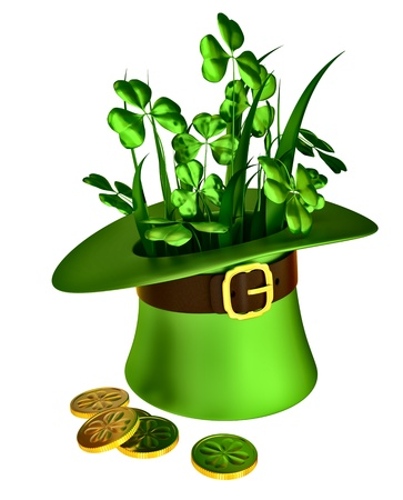 green hat, shamrocks and set of gold coins as a symbol of wealth photo
