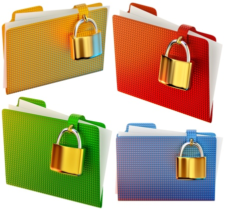 set of folders with golden hinged locks stores confidential documents Stock Photo - 15605743