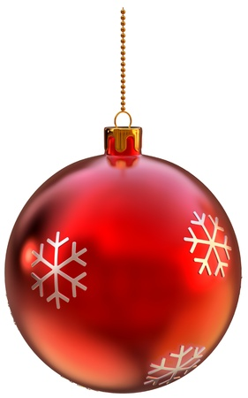 red ball bauble with decorative pattern at the shape of snowflakes for Christmas fir tree photo