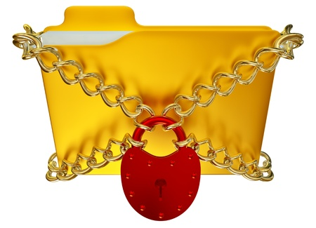 in golden folder with red hinged lock and chains, stores important information Stock Photo - 15717582