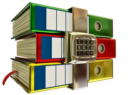 lockbox: three colored folders with metallic electronic lock, stores important information Stock Photo