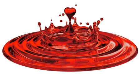 three dimensional shape: falling heart shaped water drop into the red water