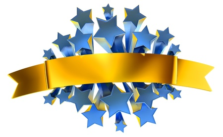 emblem with moving stars and golden metallic ribbon photo