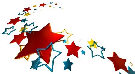 tastefully arranged metallic stars on white background as glory symbol Stock Photo - 15758580