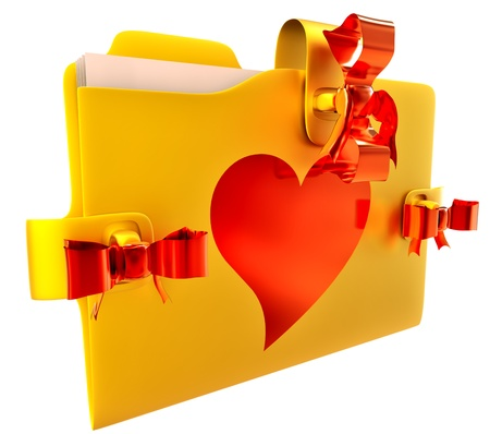 in golden folder with red bow lock and heart, stores important information about my  love Stock Photo - 15758603