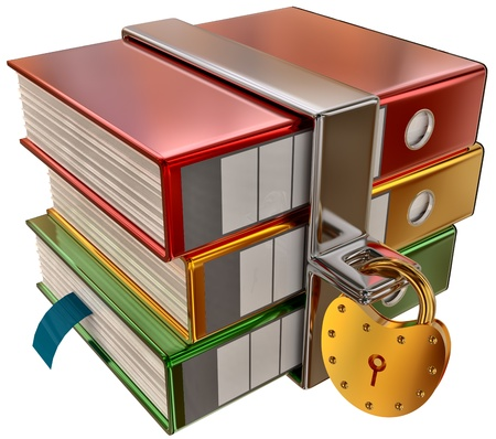 lockbox: three colored folders with golden hinged lock, stores important information Stock Photo