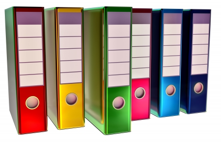 insurmountable: red, yellow, blue, green and magenta folders stores important documents on abstract background Stock Photo