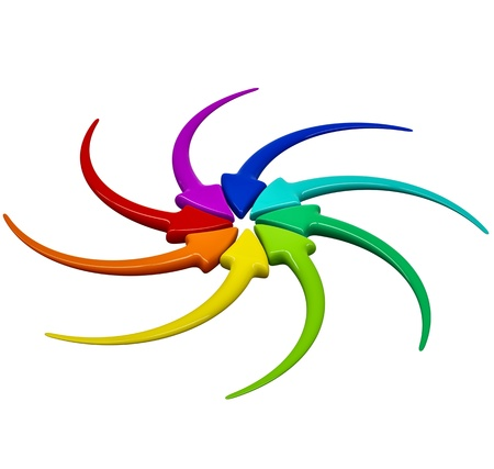 Collection of turning colour 3D arrows on white background Stock Photo - 15758653