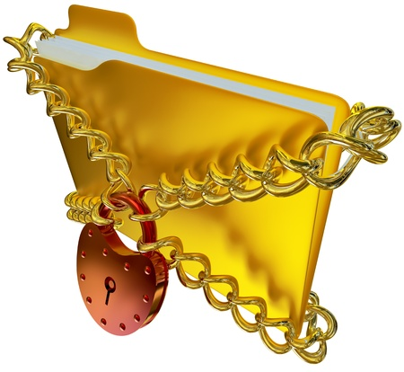 lockbox: in golden folder with red hinged lock and chains, stores important information