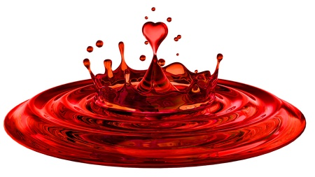 falling heart shaped water drop into the red water photo