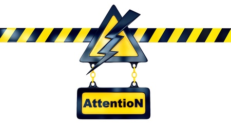 Shiny golden warning sign with lightning flash and striped line Stock Photo - 15888046