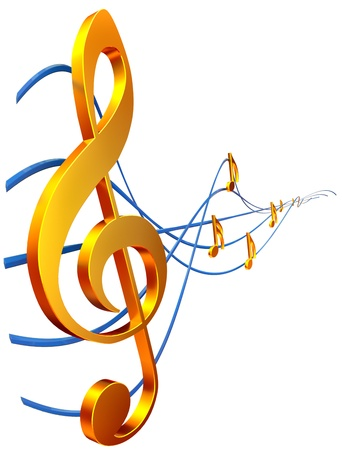 clef: gold musical score with treble clef as a symbol of music creation