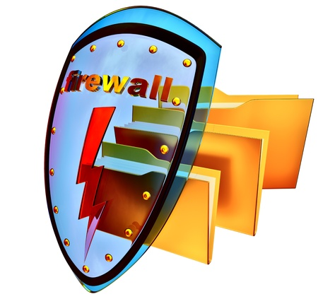 hijack: data protection with firewall against Internet attacks to prevent the robbery Stock Photo