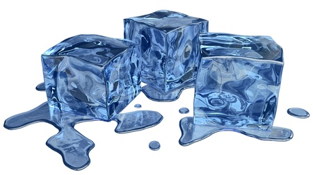 icily: Thawing ice of a blue shade with water droplets
