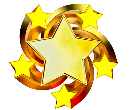 a set of six shiny gold stars in motion for advertise Stock Photo - 15888070