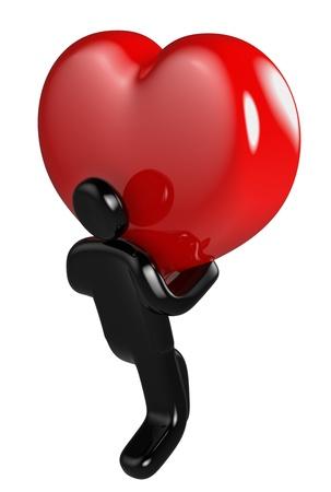 affectionate action: hombre negro asumir el gran coraz�n rojo como s�mbolo de amor