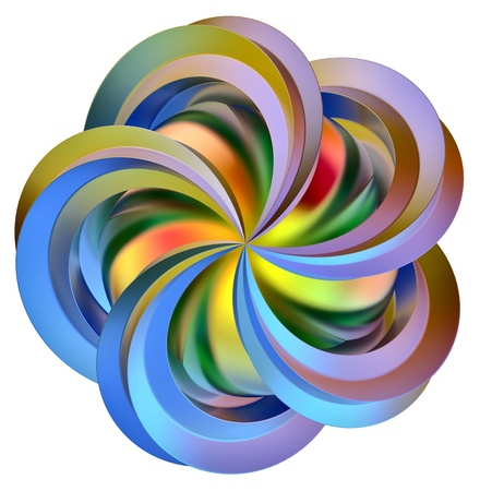 multi layered: abstract 3d colored flower as a symbol of contemporary art